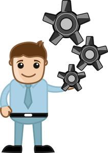 Gear - Process - Business Cartoons Vectors