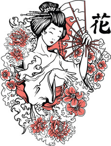 Geisha With Floral Vector T-shirt Design