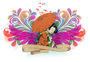 Geisha With Wings Vector Illustration