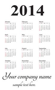 Generic 2014 Calendar Portrait