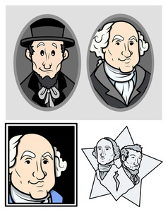 George Washington & Abraham Lincoln Clip Art Cartoon Vector