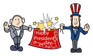 George Washington & Abraham Linoln Greets Presidents Day Vector Illustration