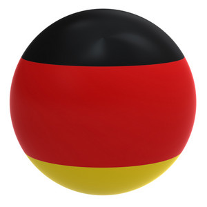 Germany Flag On The Ball Isolated On White.