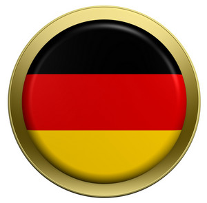 Germany Flag On The Round Button Isolated On White.