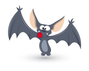 Ghost Bat Funny - Halloween Vector Illustration
