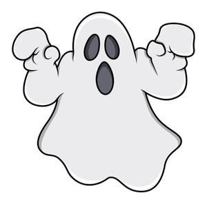 Ghost Trying To Scare - Halloween Vector Illustration