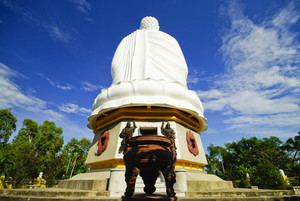 Giant white Buddha in Natrang Vietnam