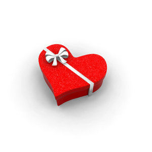 Gift Box In Heart Shape 3d Render