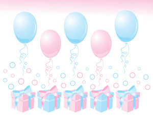 Gift Box With Balloon On Pink Background