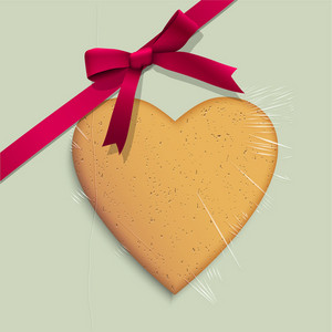 Gift Box With Cookie Of Heart Shaped Tied Pink Ribbon