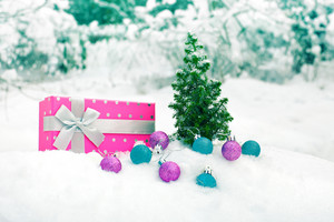 Gift box wrapped with the ribbon and small christmas tree on a snow outdoors