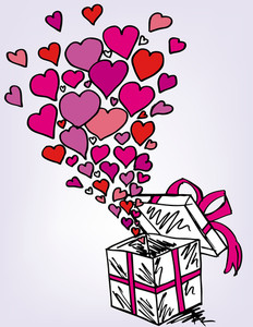 Gift Boxes Sketch Filled With Much Love. Vector Illustration