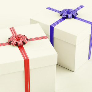 Gift Boxes With Blue And Red Ribbons As Presents For Him And Her