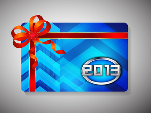 Gift Card For Happy New Year Celebration With Pink Ribbon