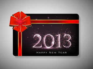 Gift Card For Happy New Year Celebration With Ribbon