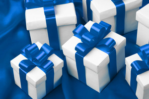 Gift on blue satin background