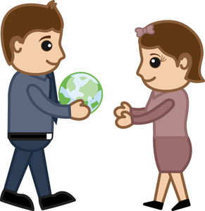 Gifting A Green Earth Concept - Vector Character Cartoon Illustration