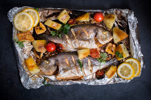 Gilthead Fish On Tray