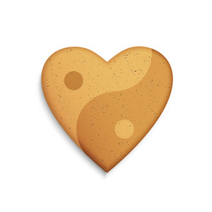 Gingerbread Cookie In The Shape Of A Heart With Yin Yang Symbol
