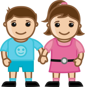 Girl And Boy - Cute Kids - Vector Character Cartoon Illustration