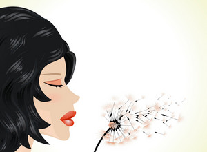 Girl Blow On Dandelion Vector Illustration