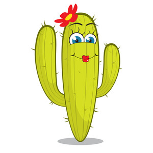 Girl Cactus Character. Vector Illustration.