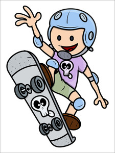Girl Child Skateboarding - Kid Vector Cartoon Illustration
