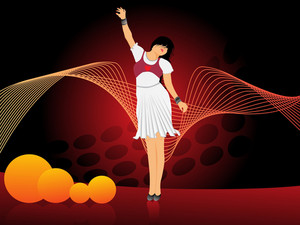Girl Dancing On Wavy Red Background