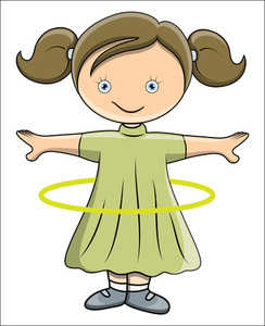 Girl Doing Hula Hoop - Vector Cartoon Illustration