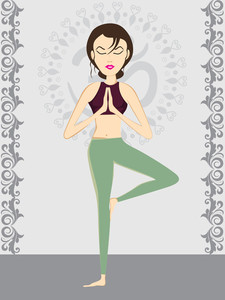 Girl Doing Yoga With Abstract Background