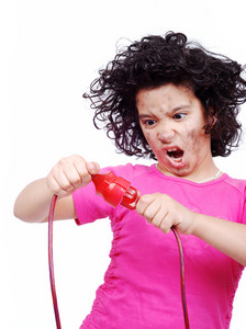 girl getting electrocuted