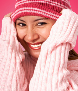 Girl Getting Warm In A Wooly Hat