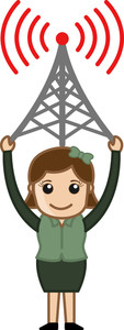 Girl Having A Network Tower