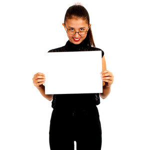 Girl Holding A Blank White Card