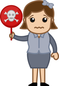 Girl Holding A Danger Sign - Cartoon Character Vector