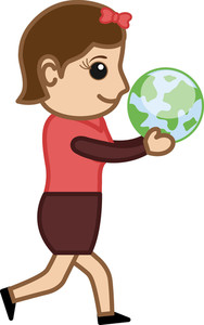 Girl Holding An Earth - Vector Illustration