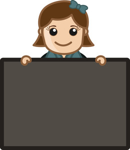 Girl Holding Blank Board - Cartoon Bussiness Vector Illustrations