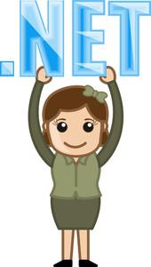 Girl Holding Dot Net Text - Cartoon Vector
