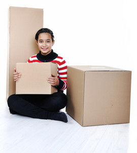 Girl holding paper box isolated