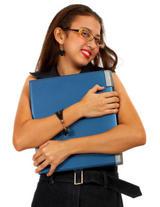 Girl Hugging Her Expensive Laptop
