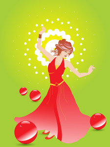 Girl In A Nice Red Gown With Disco Background
