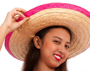 Girl In A Straw Hat Smiling