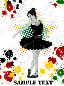 Girl In Black Dress Dancing On Grunge Background