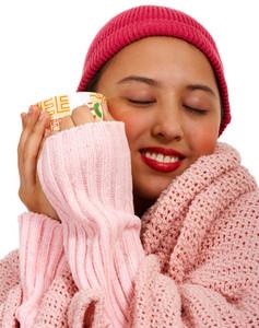 Girl Keeping Warm With A Mug Of Coffee