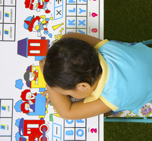 Girl Leaning On An Educational Dsek