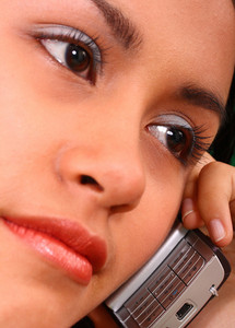 Girl Making A Phone Call Looking Worried And Concerned