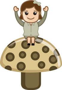 Girl On Mashroom - Cartoon Business Vector Character