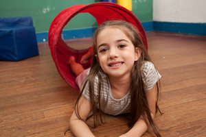 Girl playing in kindergarten