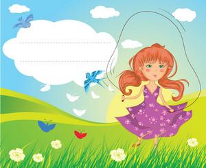 Girl Playing Vector Illustration
