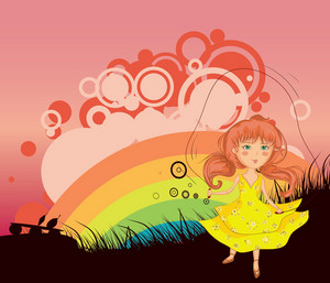 Girl Playing With Jump Rope Vector Illustration